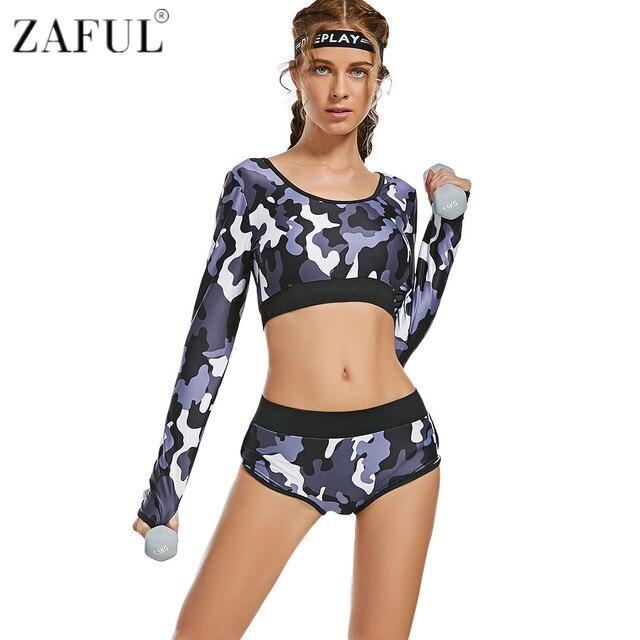 ZAFUL mujer Yoga Sets Fitness camuflaje manga larga cosecha superior y  calzoncillos entrenamiento deportes gimnasio entrenamiento f775174e4afe