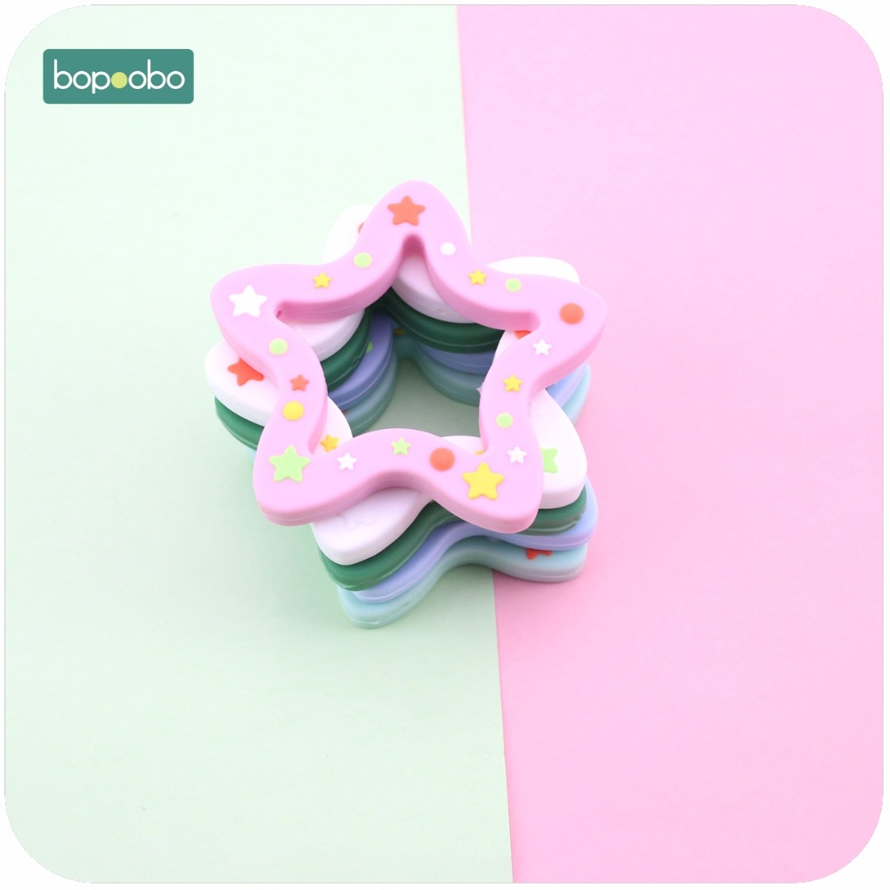 Bopoobo Baby Silicone Teether Food Grade Christmas Pendants 1pc Silicone Stars DIY Teething Necklace Accessories Charms Pendants