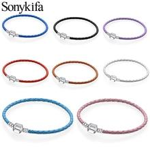 Sonykifa Аутентичные 8 цветов 16 см-21 см кожаные браслеты с подвесками подходит для оригинальных DIY тонкие браслеты для женщин ювелирные изделия подарок