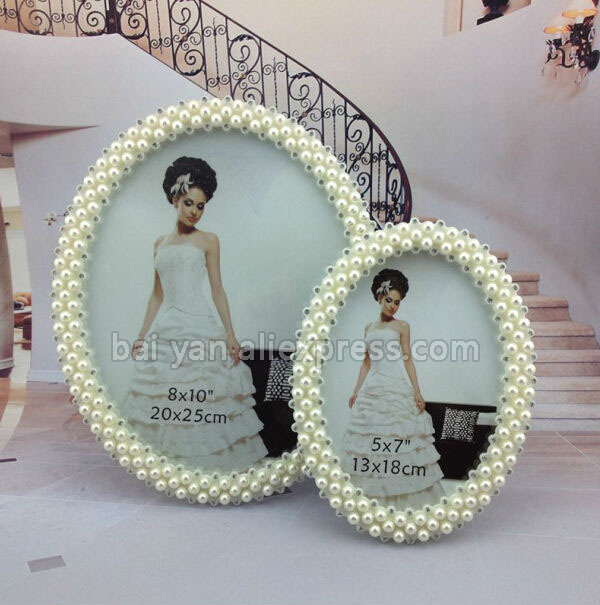 2015 New Fashion Wedding Bride Photo Frame Pearls Diamond Frame