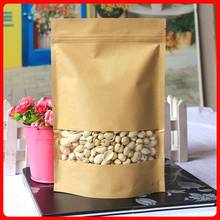 100pcs/lot 10cm*15cm+4cm*140mic Stand Up Kraft Paper Bag With Zipper Top Food Packaging Bags Wholesaler(China (Mainland))