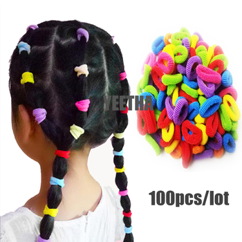 100Pcs/lot Disposable Colorful Child Kids Hair Holders Cute Rubber Hair Band Elastics Accessories Girl Women Charms Tie Gum