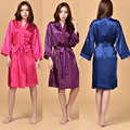 Mulheres de Cetim de Seda Noite Robe Roupão De Banho Kimono Robe Moda Sólida Sexy Roupão Peignoir Femme Robe De Dama De Honra Da Noiva Do Casamento 0603