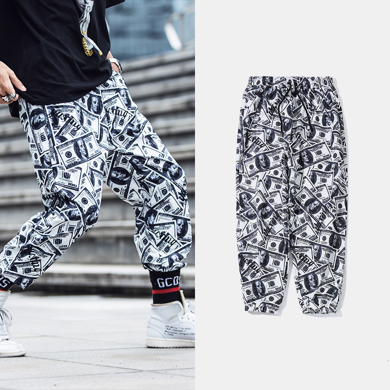WXCTEAM Men Jogger Pants Casual New Fashion Dollars 3D Printed Paper Money Unisex Long Length Trousers  Comfortable Sweatpants