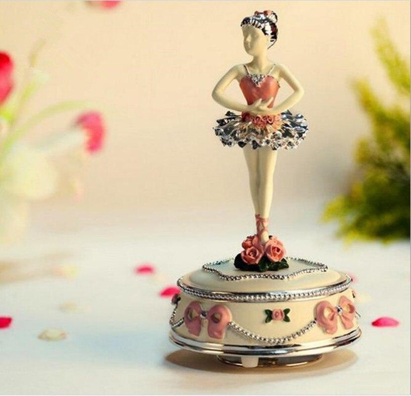 Ballet créatif danse fille boîtes à musique exquise mode plaqué or qualité cadeau pour petite amie Childern ballerine boîte à musique