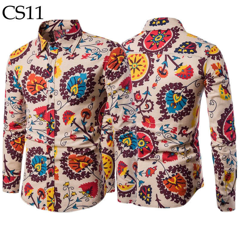 New Men's Long Sleeve Casual Shirt Fashion Flower Printed Floral Shirt Masculina Collar Slim Fitness Men Clothing Plus Size