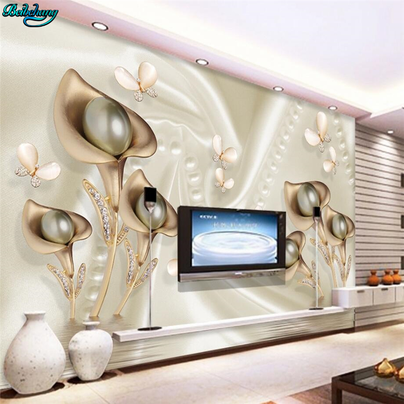 Beibehang Large Custom Wallpapers 3d Calla Leaf Butterfly Silk Water Reflection Background Wall Decorative