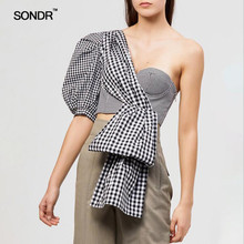 SONDR  Off Shoulder Sexy Plaid Shirt For Women Puff Half Sleeve Irregular Crop Tops Female 2019 Fashion Tide