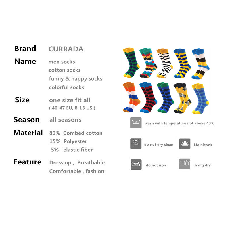 Image 2 - 10pairs/lot Mens Happy Socks Quality Combed Cotton Crew colorful Funny cartoon Socks fashion long male compression Casual sock-in Men's Socks from Underwear & Sleepwears