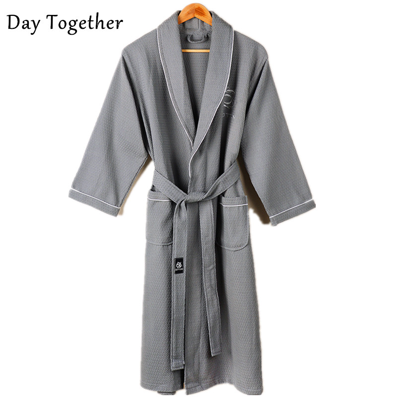 Waffle 100% Cotton Bathrobes Men And Women Couples Kimono Long-sleeve Soft Terry Bath Robes Hotel Ladies Robes Dressing Gown