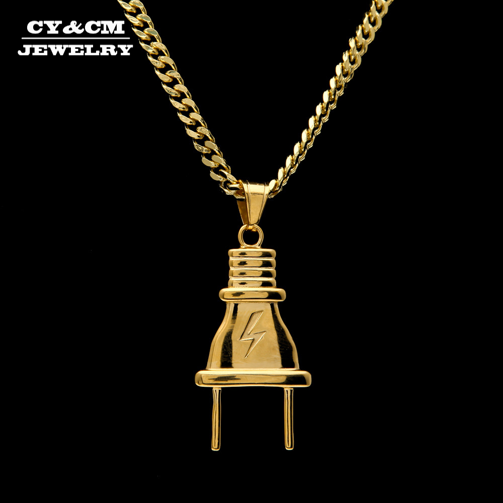 7dad6e516ab5 ... Hip hop collar de cubano cadena de moda joyería Punk. Cheap CY y CM de  las mujeres de los hombres de oro macho colgante de acero