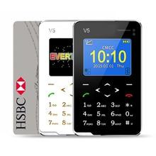 Neue artikel ultradünne aiek v5 karte handytasche mini telefon Touch Tastatur Quad-Band Multi sprachen Niedrige Strahlung Mini handys