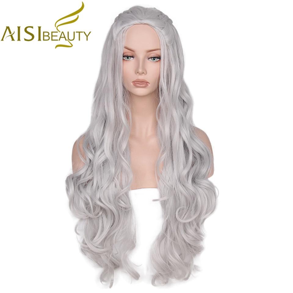 AISI BEAY סינתטי פאה Wave ארוך אפור Cosplay פאות - שיער סינתטי