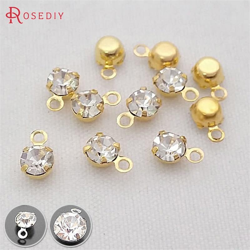 100PCS 4MM 5.5MM 8MM Brass With Glass Rhinestone Single Hole Rhinestone Charms End Beads Diy Jewelry Findings