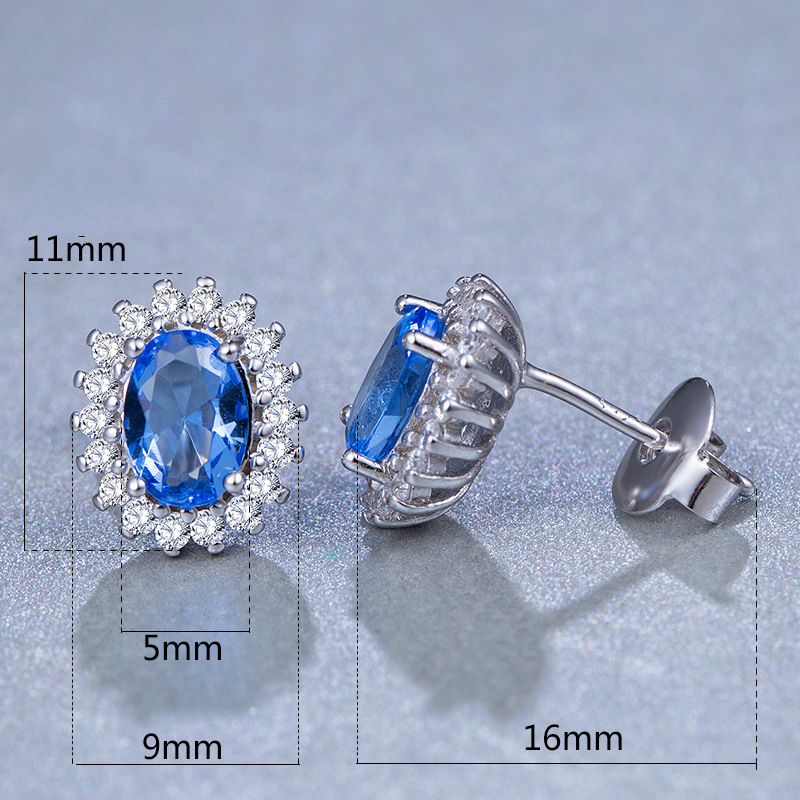 Fashion S925 Sterling Silver Stud Earrings Crystal Embellishment Charm Women Wedding Party Gift Jewelery Fitting