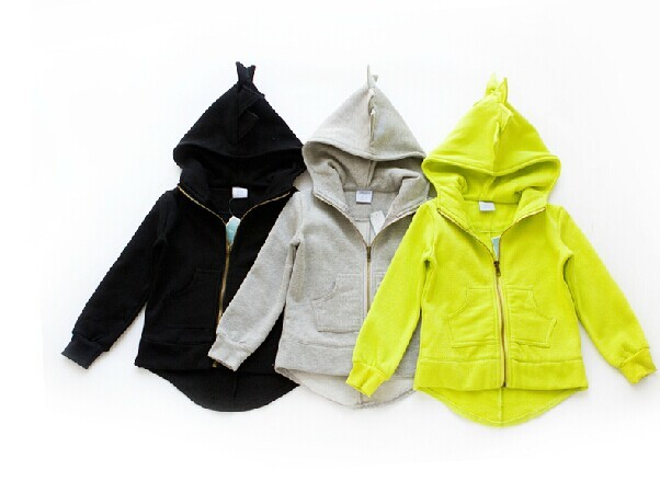 Autumn 2015 new dinosaur hoodies jackets kids, boys and girls jacket outerwear baby sweaters winter long sleeve spring