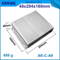 1 pcs/lot Diy electronic box aluminum project box and enclosure for electronics and PCB 48(H)x204(W)x160(L) mm