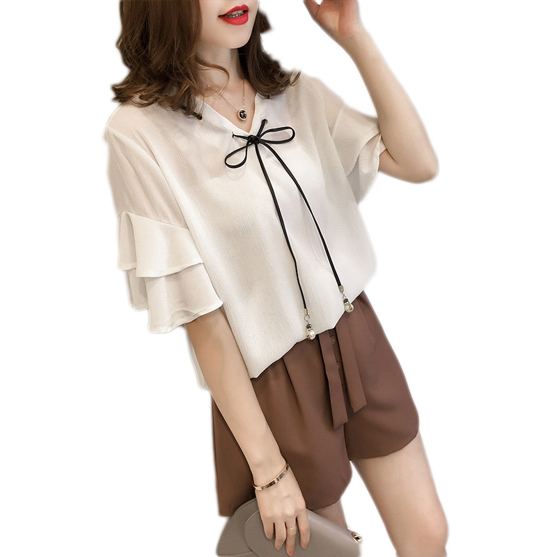 Chiffon Women   Blouse   Plus SIZE Summer Lace-up With Pearl V neck Petal Sleeve   Blouse     Shirt   Sweet Short Sleeve   Blouses