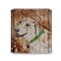 Camel Browen Background Faithful Dog with Green Ban Waterproof and Mould Proof Shower Curtain More Size Good Gift for Friend