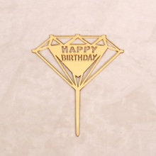 Happy Birthday Cake Topper Decoration Supplies Black/Gold/Pink Color Acrylic