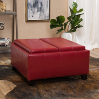 Justin 2 Tray Top Red Ottoman Coffee Table W Storage