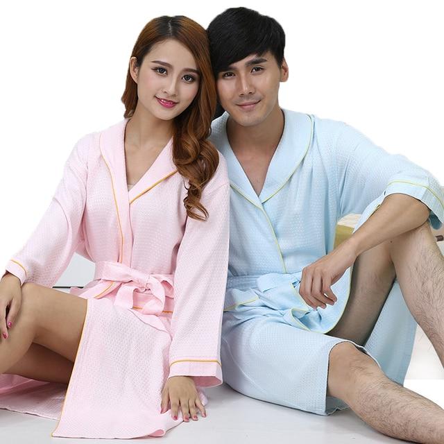 Waffle Pria Jubah Mandi Serat Bambu Baju Tidur Baju Tidur Piyama Bulu Seksi  Jubah Pecinta Panjang 7d646e8a91