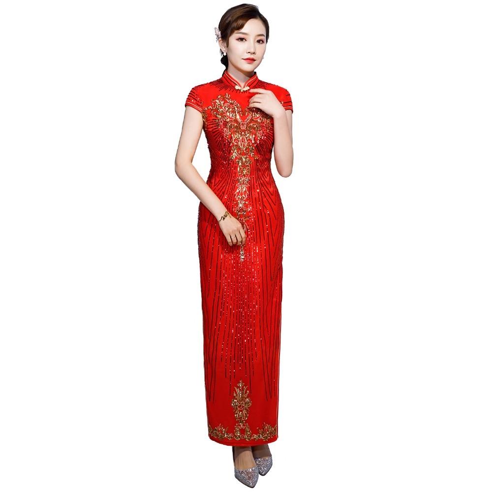Shanghai Story Chinese Style Dress Floral Sequins Long Qipao Short Sleeve cheongsam dress Oriental Style Dress