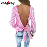 New Backless Striped Women Blouses Tops 2018 Summer Blusas y Camisas Mujer Back Bow Tied Female Shirts Fringe Chemise Femme C273