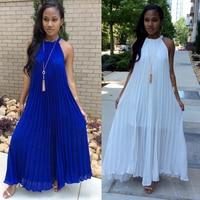 Casual 2019 summer dress for women pleated party dress vadim white Solid Color drress halter sleeveless dress elegant sundress