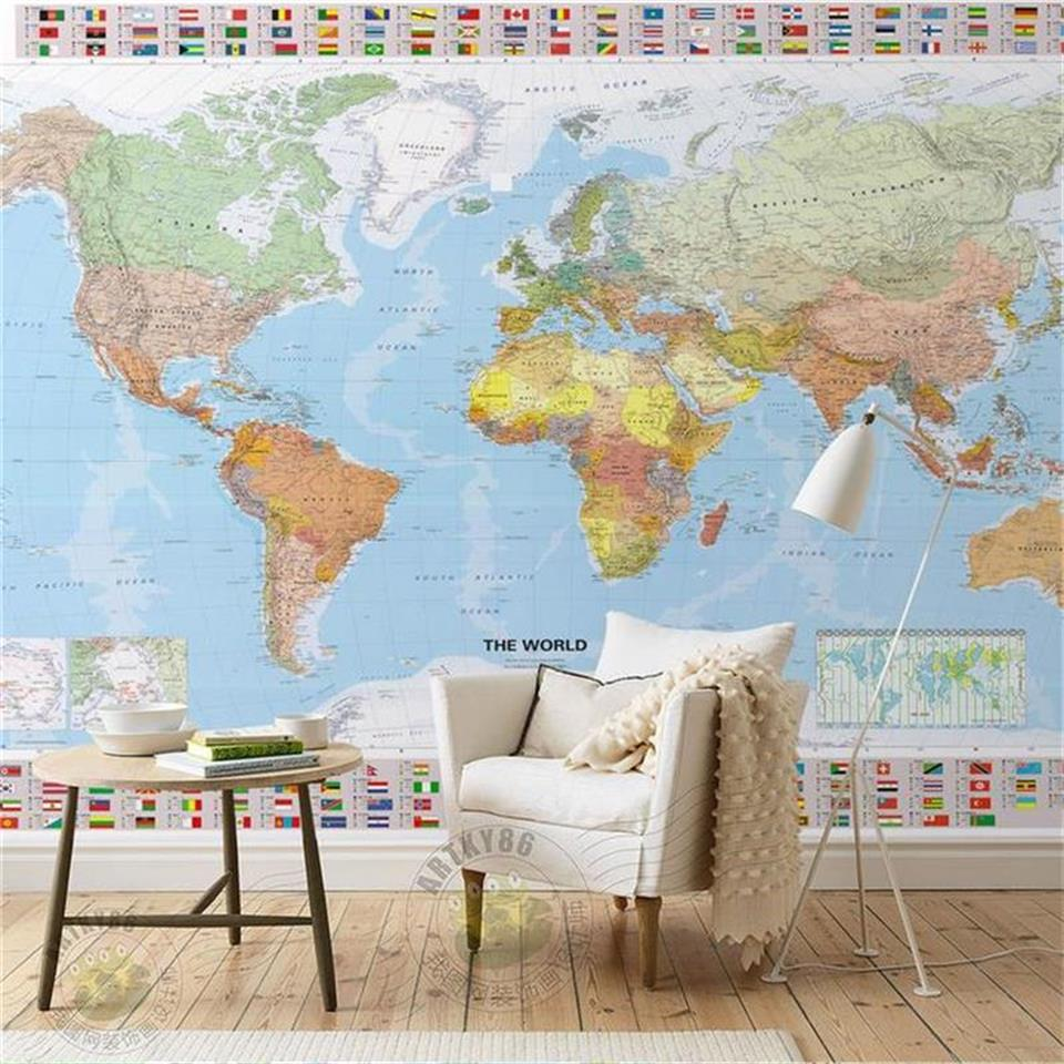 3d wallpaper 3d photo wallpaper custom mural living room world map and flag 3d painting sofa TV background wallpaper for wall 3d все цены