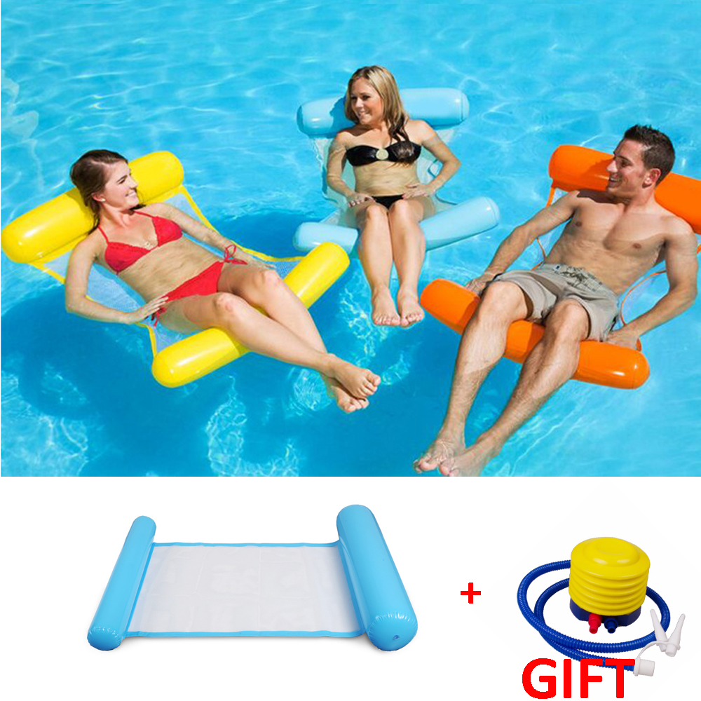 2018 Hot Inflatable Lounger Air Sofa Water Hammock Lounge Chair Pool Float Lazy Bag Gift for Swimming Beach Sleeping Bed(China)