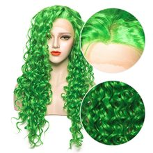EEWIGS Heat Resistant Synthetic Lace Front Wig Long Curly Wig Glueless Fiber Hair Green Wigs For Women Drag Queen Cosplay(China)