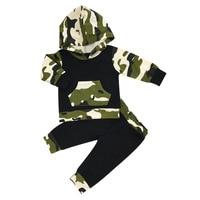 2017 Meninos Roupa Do Bebê Conjuntos Para Infantil Camuflagem Com Capuz + Calça 2 Pcs Meninas Recém-nascidas Outono Roupas Jaqueta Com Capuz Terno