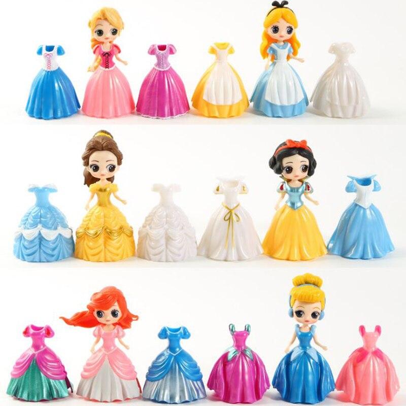 1 Satz Schöne Cinderella Meerjungfrau Alice Belle Schnee Weiß Prinzessin Kleid Up Prinzessin Ornament Kinder Pretend Spielen Für Mädchen Geschenk