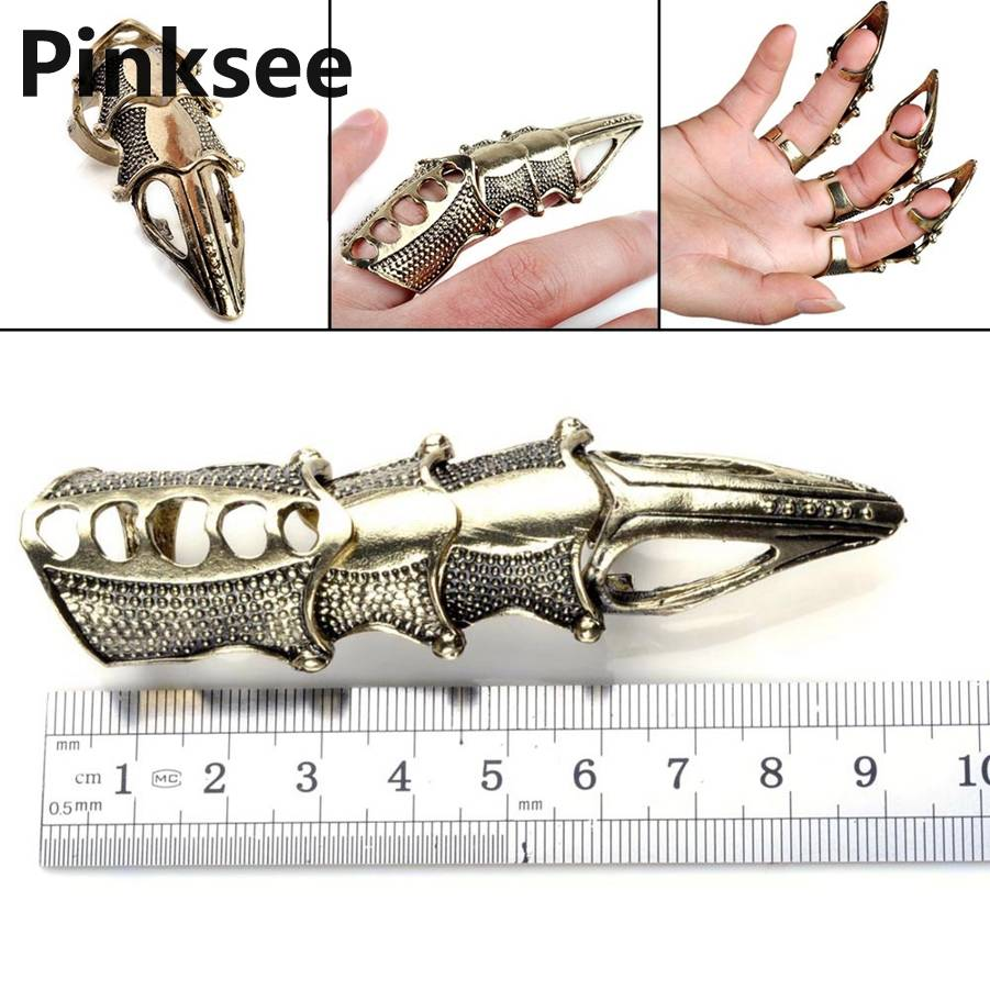 10pcs Lot Fashion Vintage Armour Knuckle Finger Lengthen Gothic Punk Cool Rings Unisex Wholesale Drop Ship in Rings from Jewelry Accessories