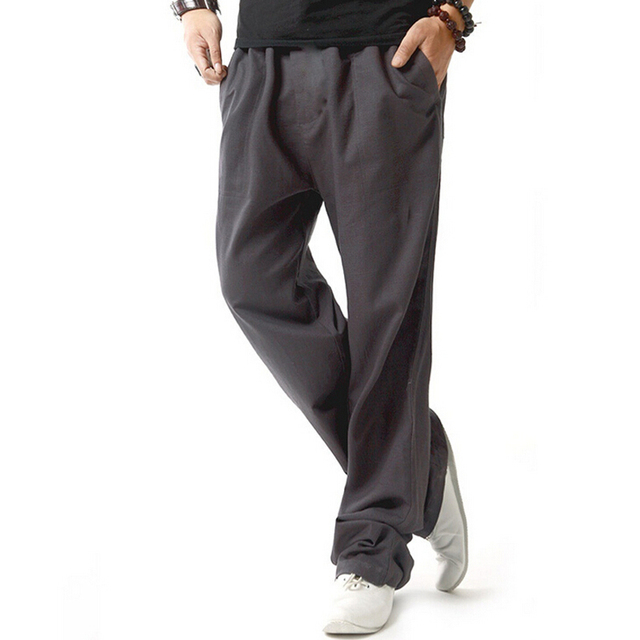 Hot Linen Casual Wear Pants Men Solid Thin Breathable Comfort joggers Sweatpants Plus Size XXXL 4XL Mens Straight Trousers Pant