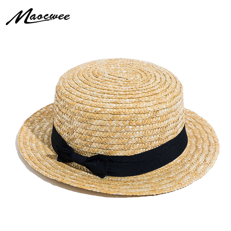360901985bb Lady Boater Sun Caps Ribbon Round Flat Top Straw Beach Hat Panama Bowknot  Hat Summer Hats for Women Straw Hat Snapback Gorras