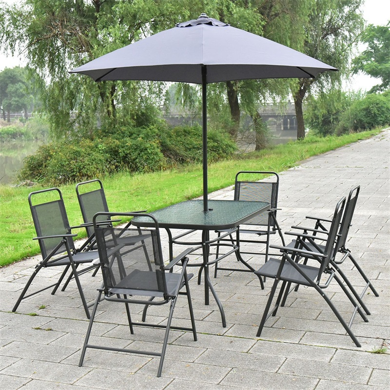 Mordern 8 Pcs Outdoor Dining Patio Tables And Chairs Set Garden Square Folding Furniture Set With Umbrella HW52140