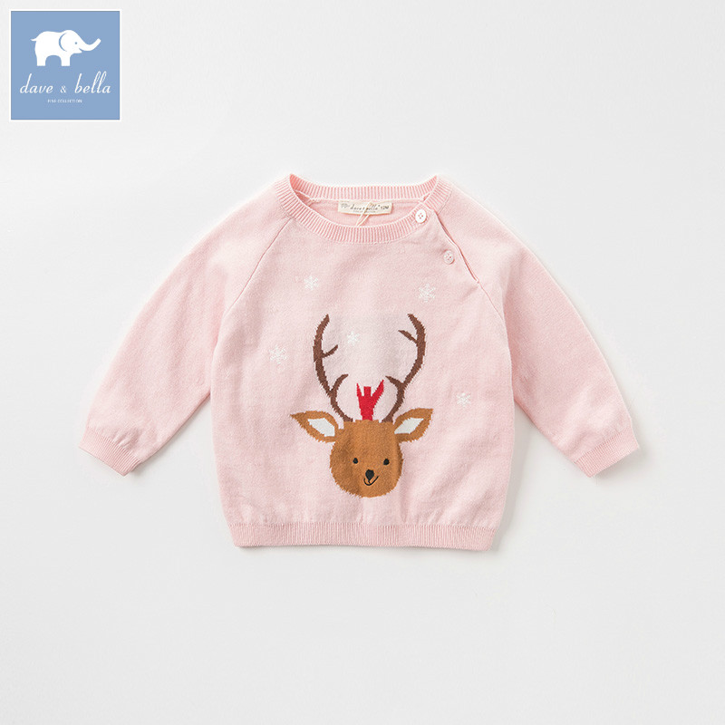 DB9068 dave bella baby girl fashion sweater children pullover knitted sweater infant toddler girls print lovely clothes