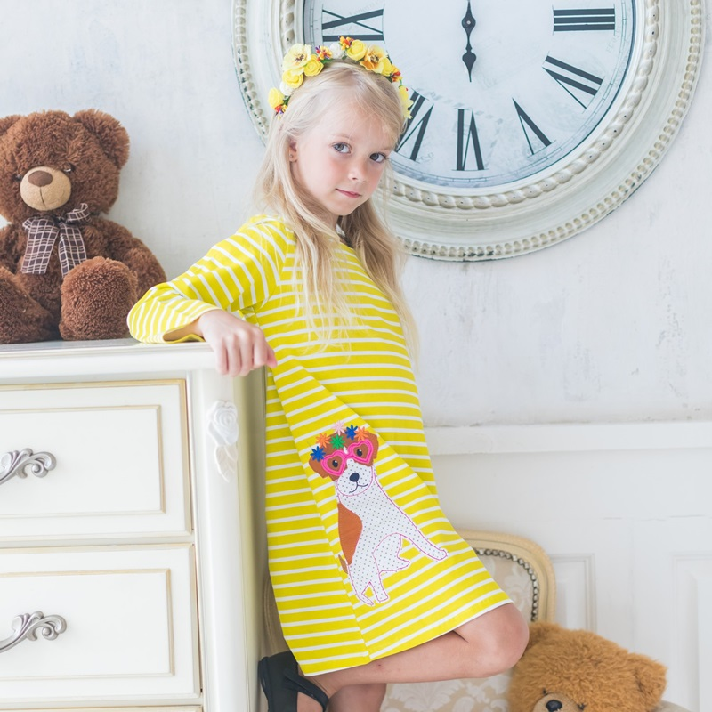 Girl Long Sleeve Dress Girl Costume for Kids Unicorn Party Dress Animals Appliqued Tunic Vestidos Jersey A-line Girl Dresses long sleeve gilding tunic top