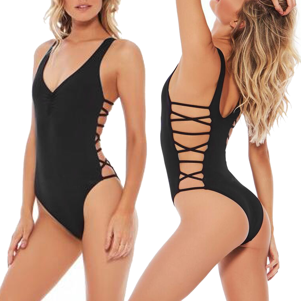 Black Backless One Piece Swimsuit 2017 Sexy Swimwear Women Bathing Suit Swim Vintage Summer Beach Wear Bandage Monokini Swimsuit lanshifei sexy backless one piece swimsuit women swimwear deep v neck solid color bathing swim suit monokini beach wear