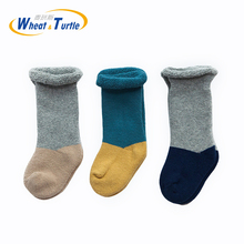 3 Pairs/Lot Mix Color Cotton Children Socks Girls Boys Baby Ankle Length Thick Winter Casual Sock For 0-4 Years