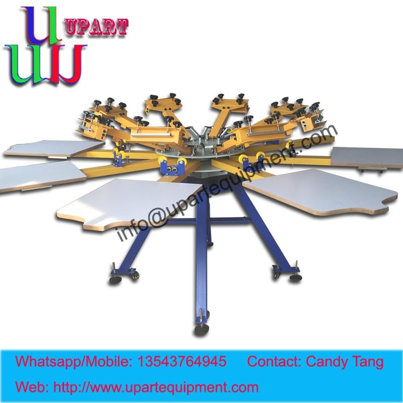 manual 8 color carousel screen printing machine good register, 8 color t-shirt s