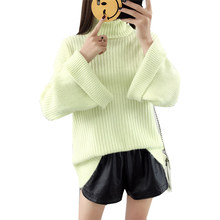 Loose Sweater Women 2018 Autumn And Spring high-necked Collar Solid Color Knit women's Sweaters And Pullovers Vestidos LXJ474(China)