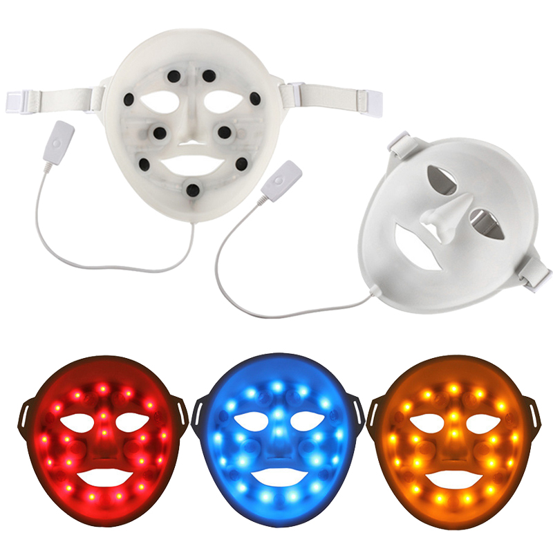 Silicone LED Facial Mask Device 3 Color LED Photon Skin Rejuvenation Wrinkle Acne Removal Beauty Spa Instrument Soft Face Masker 3mhz ultrasonic facial massager galvanic deep cleaning led light photon care acne removal skin rejuvenation face lift spa beauty