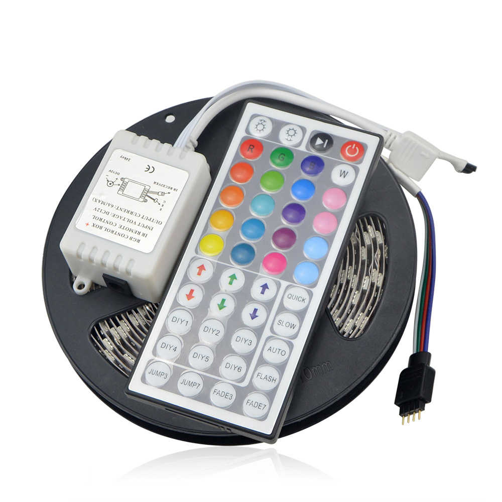 High quality 5M Not waterproof RGB LED Strip Light + 44Keys IR Remote Controller 5050 Chip DC12V 60Leds/M Home Decoration Lamp