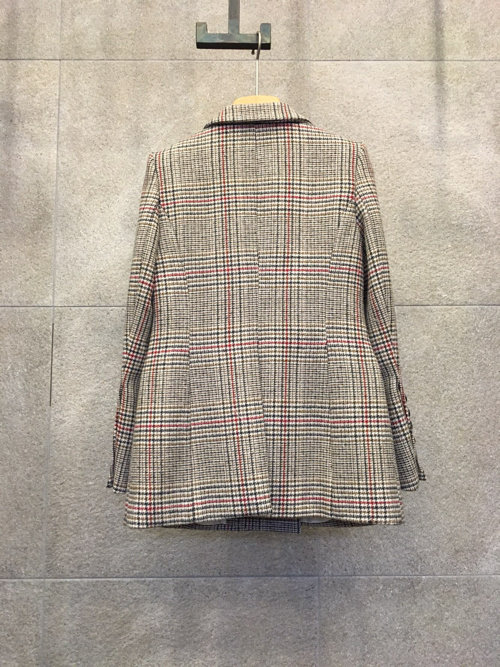Spring Vintage Plaid Women's Jacket Blazer Double Breasted Animal Embroidery Long Blazer Femme Long Sleeve Office Blazer Women