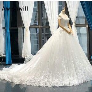 Image 4 - Vestido de Noiva 2020 Princess Wedding Dresses Off Shoulder Applique Lace Ball Gown Bridal Dress Plus Size Robe De Mariee