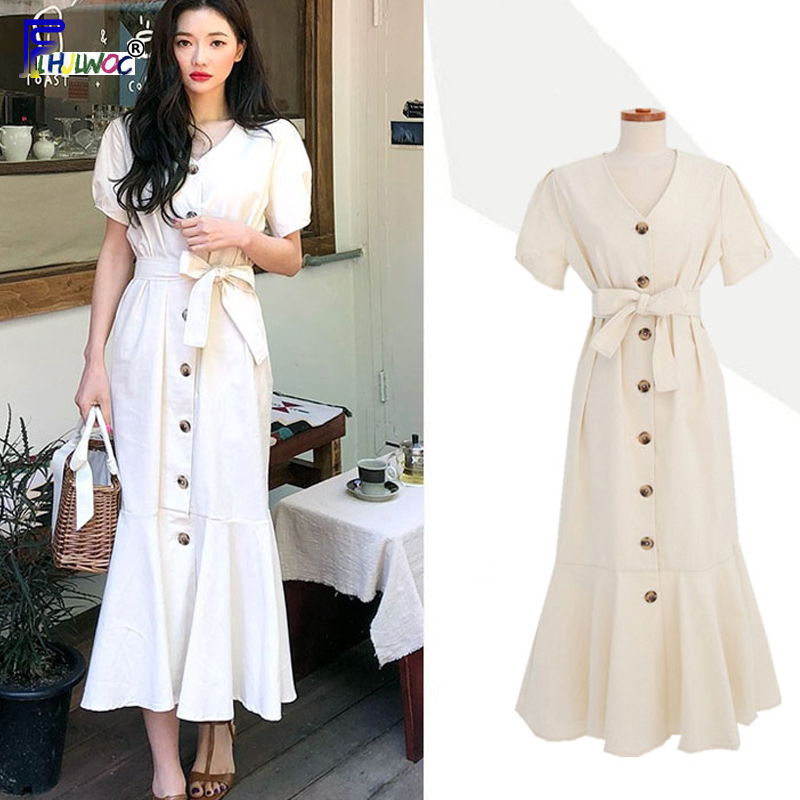 Elegant Dress Long Woman Cute Short Sleeve Korean Japan Style Clothes Date Wear Temperament Lady Button Shirt Dress Ruffled 5331