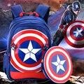 Caliente! 2016 de la historieta 3D capitán américa de los niños estudiantes del bolso de escuela boy mochila impermeable mochila niños anime cool 6 - 12 años regalo del niño